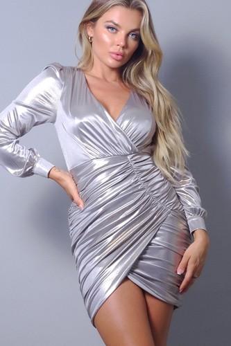 Metallic Long Sleeve V Neck Wrapped Asymmetric Hem Mini Dress