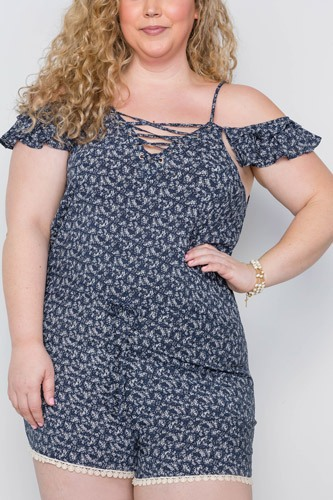 Plus Size Navy Floral Print Lace Up Romper