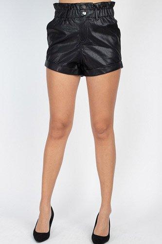 Paper Bag Pu Button Shorts Pants