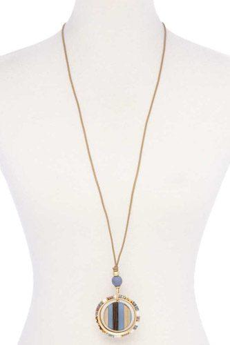 Wooden Pendant Suede Necklace