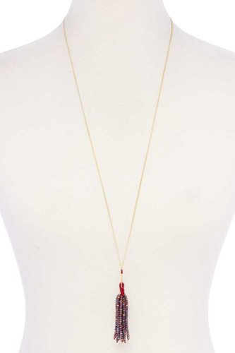 Multi Color Beaded Tassel Necklace