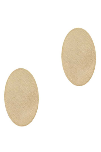 Metal Oval Texture Stud Earring