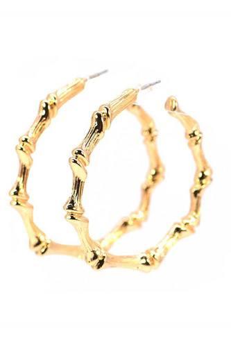 Metal Bamboo Hoop Earring