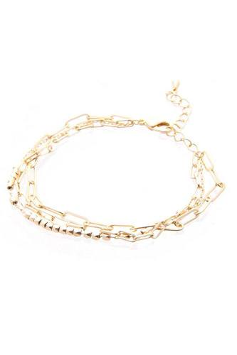 3 Layered Multi Metal Chain Bracelet