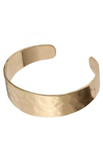 Hammered Metal Open Bangle Bracelet