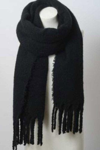 Cozy Mohair Solid Tassel Trim Blanket Scarf
