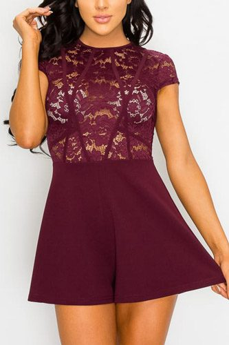 Floral Sheer Lace Combo Romper