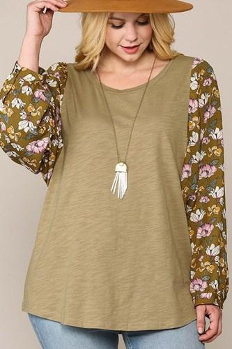 Floral Print Dolman Sleeve Round Hem Top