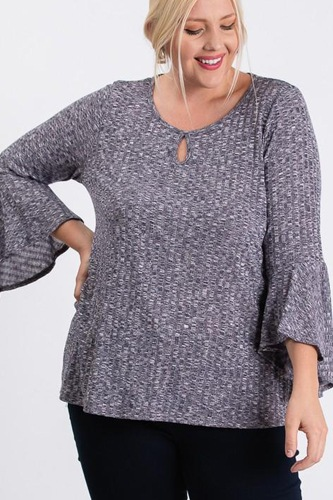 Front Keyhole 2tone Rib Fabric 3/4 Bell Sleeve Top