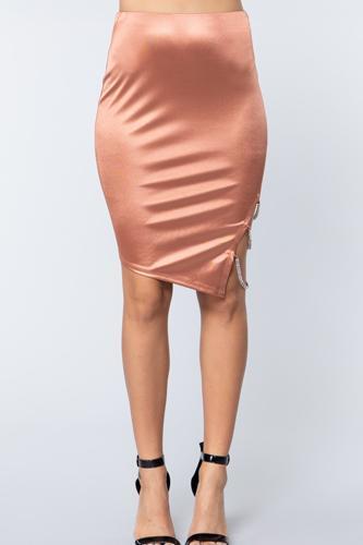 Jewel Strap Satin Midi Skirt