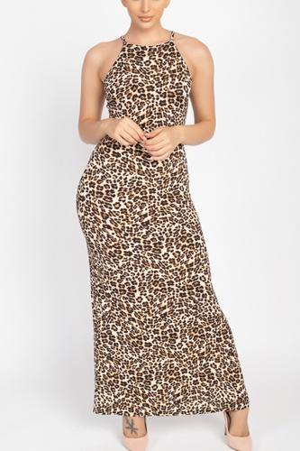 Round Neck Animal Print Maxi Dress