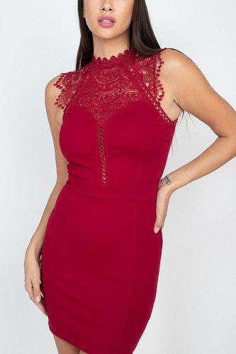 Sleeveless Lace Mini Dress