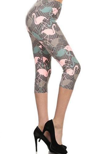 Flamingos Printed Knit Capri Legging With Elastic Waistband