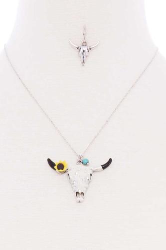 Cattle Skull Sunflower Pendant Necklace