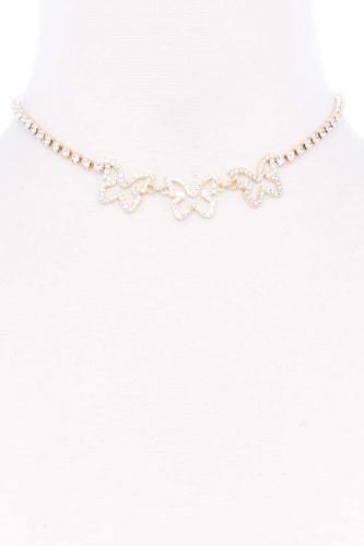 Rhinestone Triple Butterfly Short Necklace