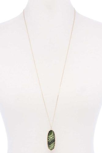 Acetate Oval Metal Edge Pendant Necklace