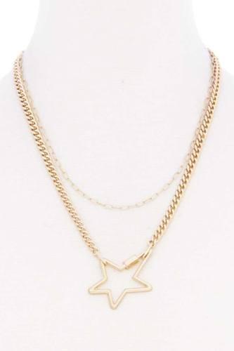 Star Pendnat Cuban Link Layered Metal Necklace