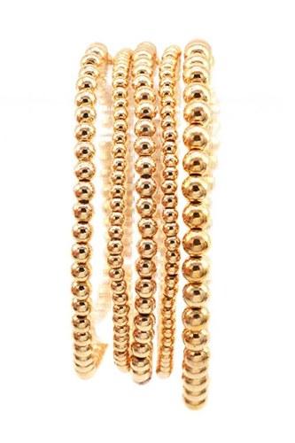 Metallic Balls Bead Stretch Multi Bracelet