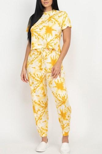 Tie-dye Printed Top And Pants Set
