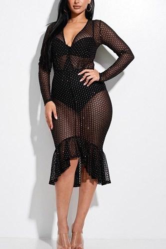 Embellished Burnout Mesh Long Sleeve Mermaid Midi Dress With Panty Lining
