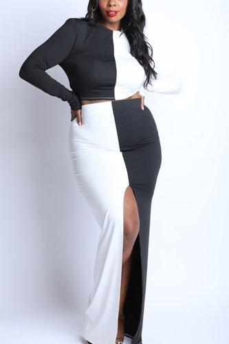 Color Blocked Maxi Skirt Front Slit Set