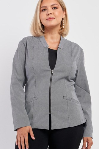 Plus Checkered Houndstooth Pattern Front Zipper Closure Jacket