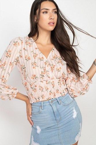 Floral Shadow Stripe V-neck Top