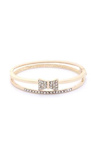 Rhinestone Bow Metal Bracelet