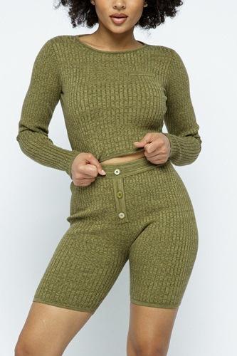 Knit Long Sleeve Cropped Top Knit High-waist Biker Shorts Set