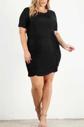 Plus Size Solid Bodycon Mini Dress