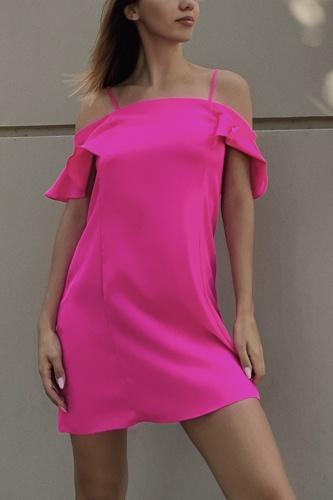 Hot Pink Cold Shoulder Ruffle Mini Shift Dress