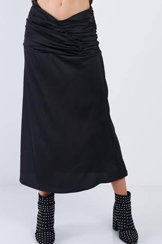 Satin Ruffle Waist Midi Skirt