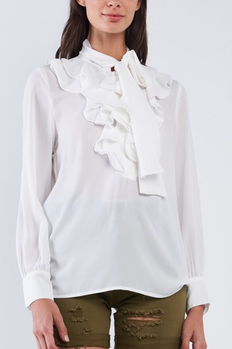 Vintage White Ruffle Button Down Self Tie Chest Long Sleeve Blouse Top
