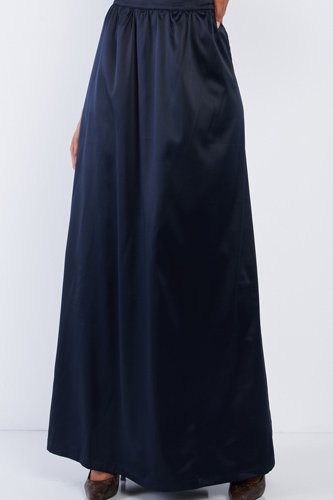 Solid Navy Blue Satin High Waist Flowing Maxi Skirt