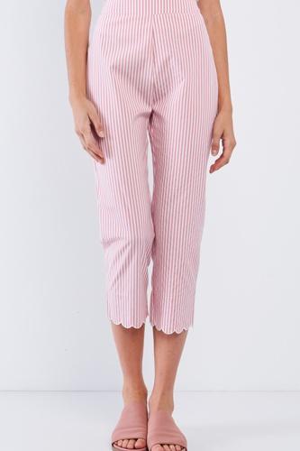 Red & White Striped High Waist Scalloped Hem Summer Capri Pants