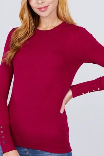 Crew Neck Sweater W/rivet Button