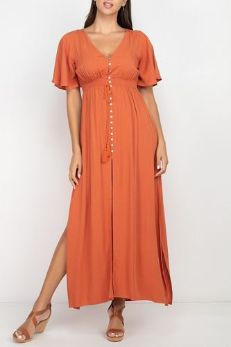 Side Slit Smocked Waist Maxi Dress