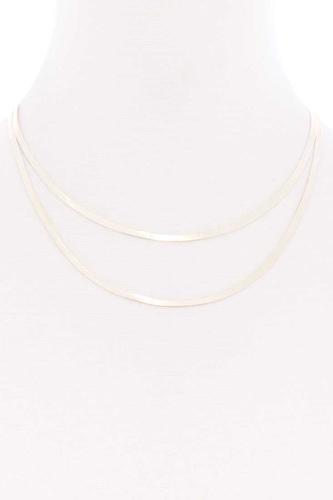 Sodajo 2 Layered Herringbone Metal Chain Necklace