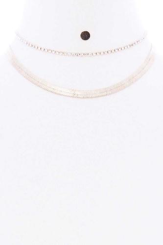 Herringbone Rhinestone Chain 2 Layered Necklace Earring Set