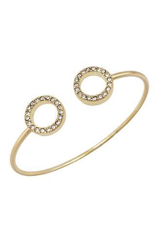 Metal Round Stone Open Cuff Bracelet