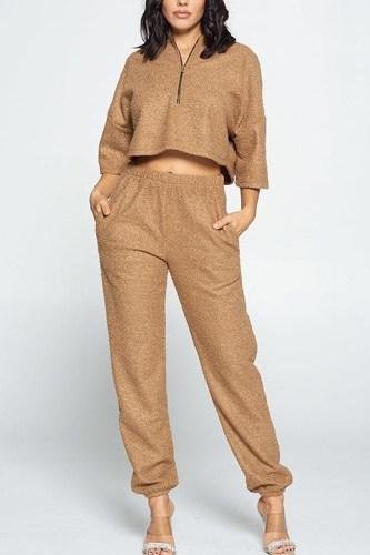 Brown Top And Pant Set