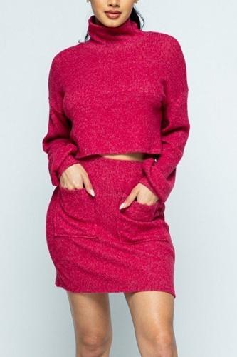 Brushed Knit Mock Neck Drop Shoulder Top With Front Pocket Mini Skirt Set