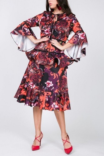 Cascade Ruffle Sleeve Frill Tiered Bottom Print Midi Dress
