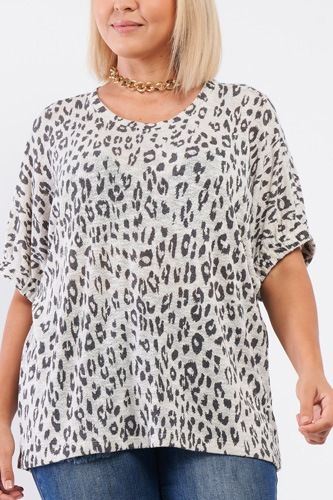 Plus Light Grey Leopard Print Relaxed Round Neck Top