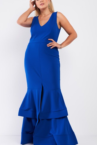 Plus Sleeveless V-neck Front Slip Layered Flare Hem Maxi Mermaid Dress