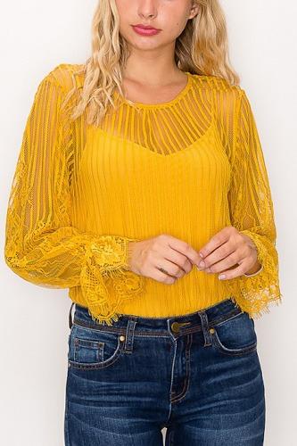 Lace Trim Shadow Stripe Bodysuit
