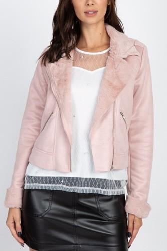 Suede Faux Fur Moto Jacket