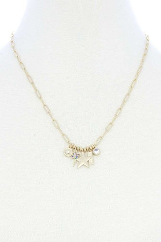 Dainty Star Lighting Bolt Charm Metal Necklace