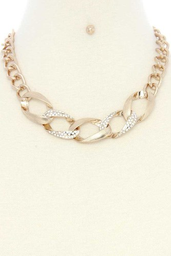 Oval Link Rhinestone Metal Necklace