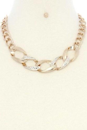 Oval Link Rhinestone Metal Necklace